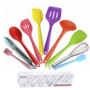10 Pcs Silicone Heat Resistant Cooking Utensils Non-Stick