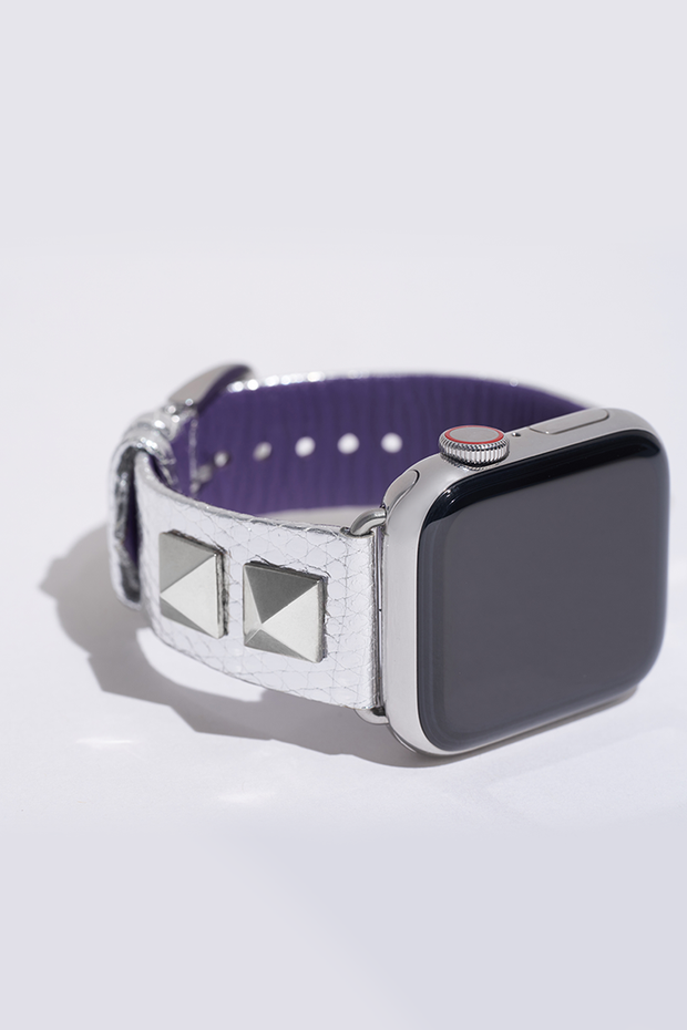 Elizabeth: Metallic Silver Lizard Leather Strap with 14k White Gold Pyramids