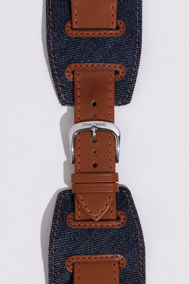 Brown Napa Leather and Blue Denim Watch Strap