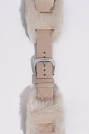 Penny: Taupe Calfskin Leather Strap with Genuine Shearling