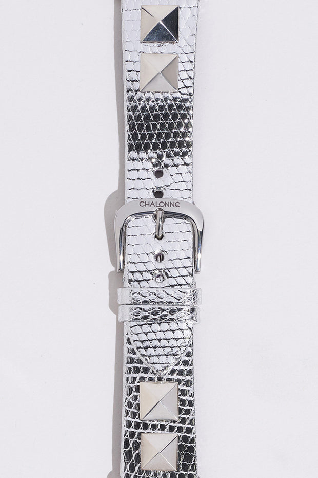Metallic Silver Genuine Lizard Watch Band
