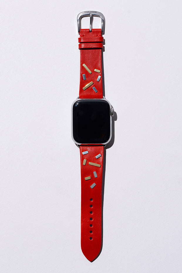 Red Napa Leather Watch Band