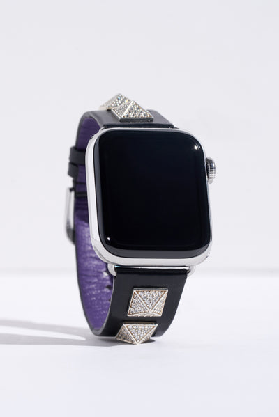 Katherine: Black Napa Leather Strap with Diamond Encrusted Pyramids