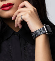 Aimee in Onyx: Black Galuchat Stingray Leather Strap