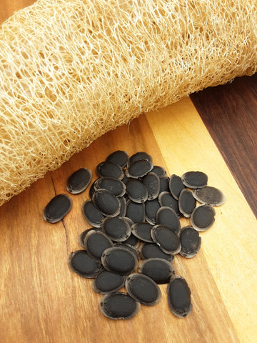 Fresh luffa gourd sponge with its black seeds