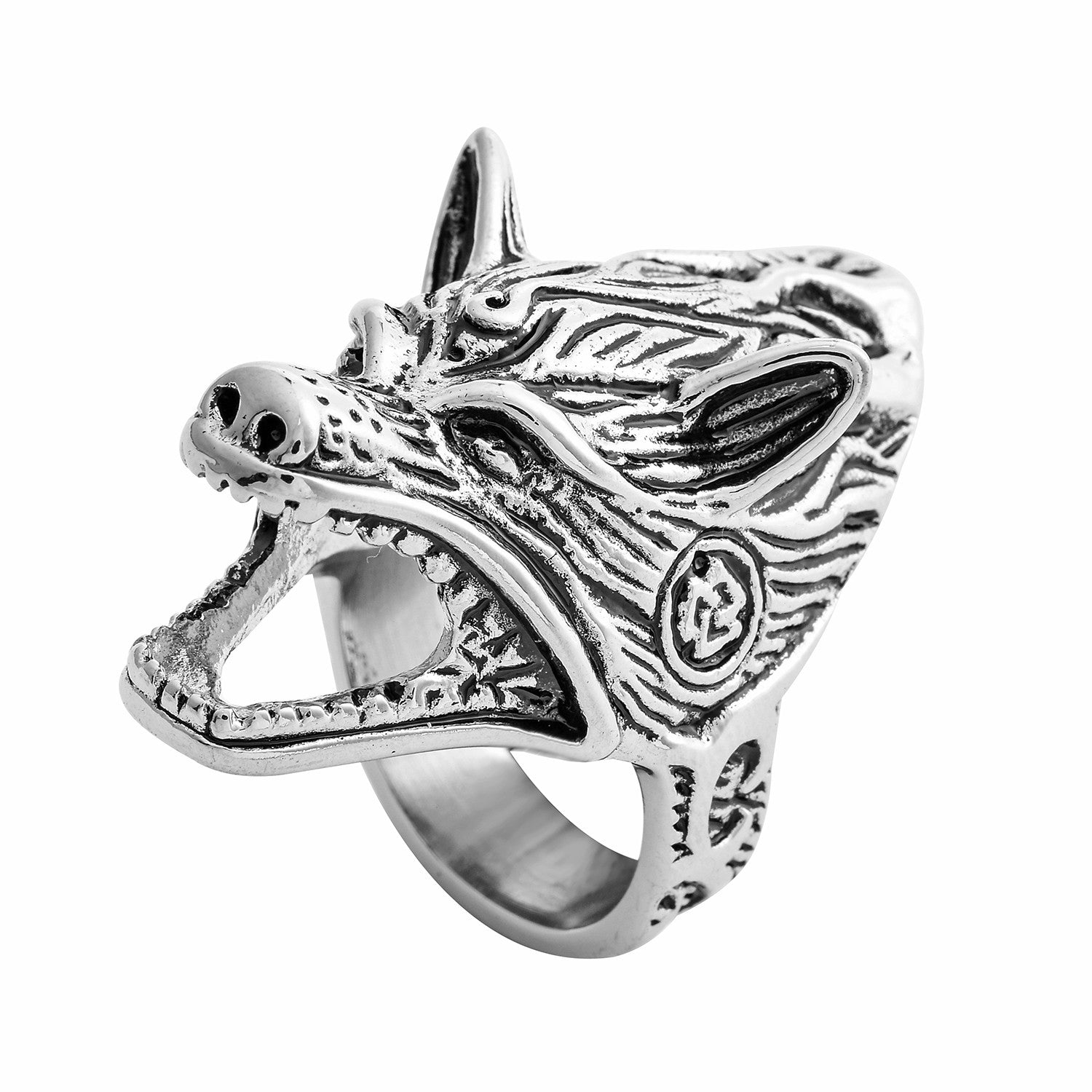 Viking Norse Wolf Head Men\'s Ring Size 0 – Survival Crafting