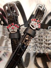 Mane Jane Red Jeweled Crown Spur Straps