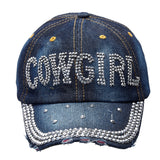 "NEW! Denim & Silver Bling ""Cowgirl"" Cap"