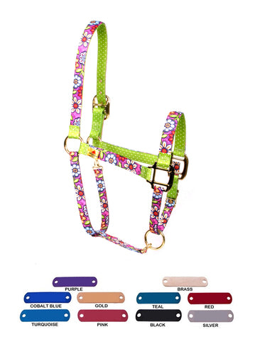 Personalized Name Plate Pink Garden High Fashion Horse Halter