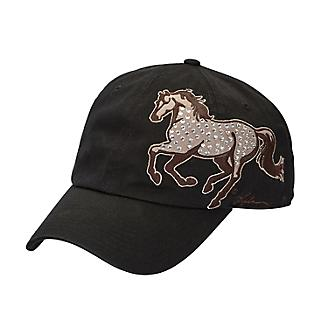 NEW! Black Rhinestone Horse Cap