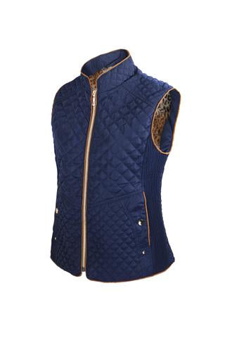 ZSherelli Quilted Vest with Leopard - Royal