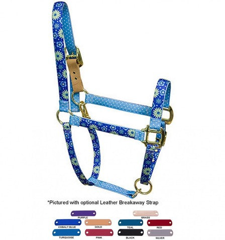 Personalized Name Plate Teal Flowers High Fashion Horse Halter