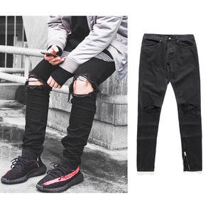 Zip Black Ripped Jeans
