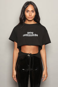 Black Going Commando Cropped Tie T-Shirt