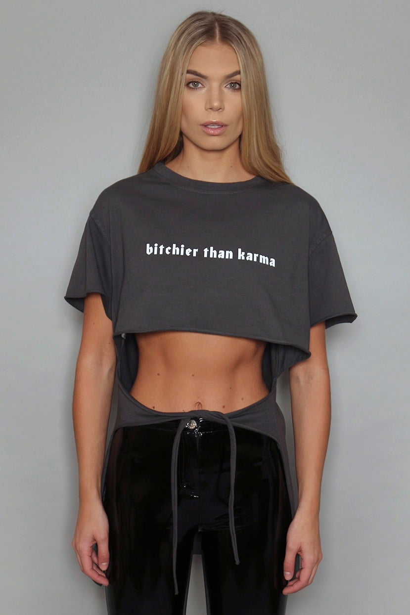 Grey Bitchier Than Karma Cropped Tie T-Shirt