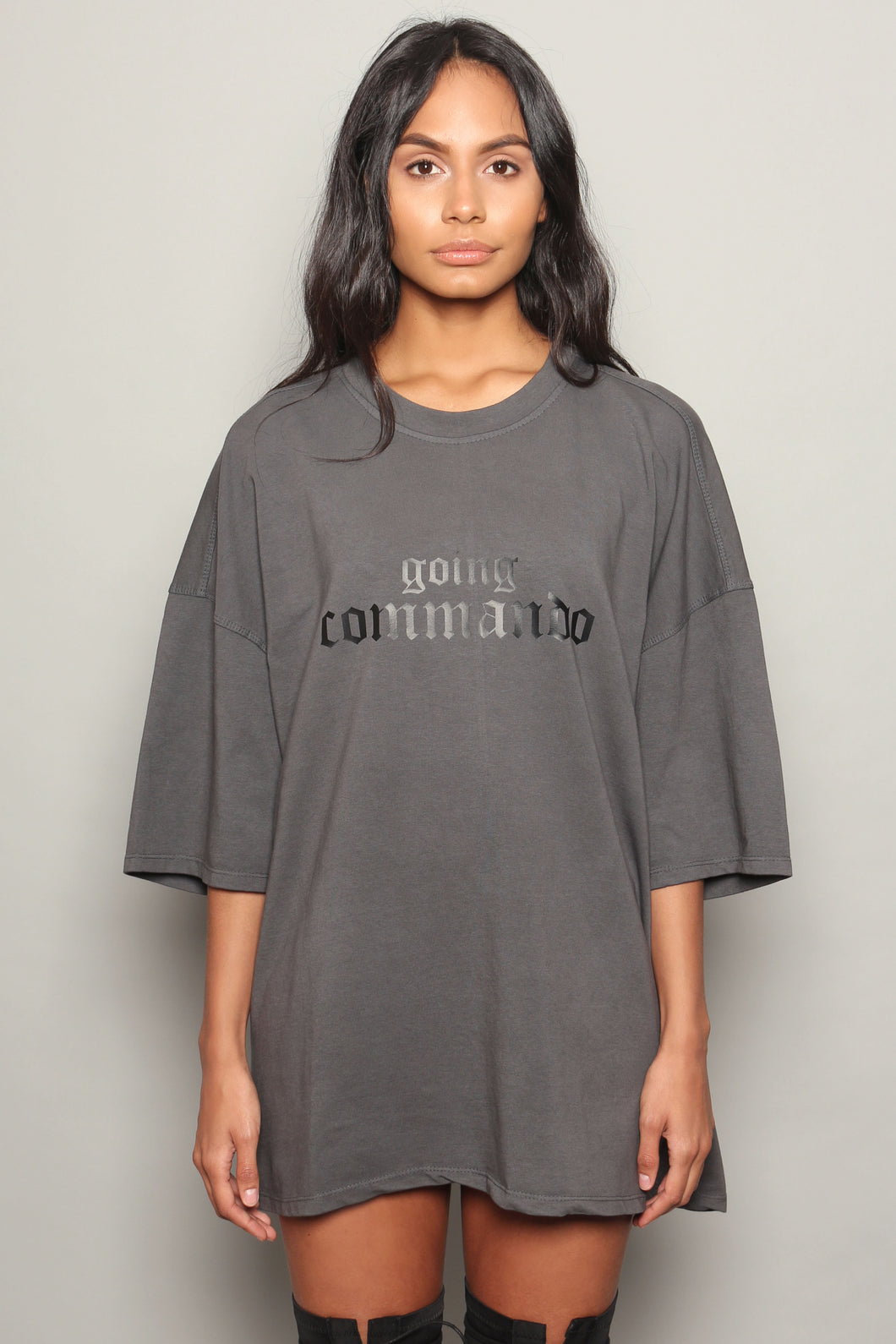 Grey Going Commando Oversized Dress T-Shirt