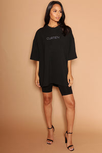 Black Logo Oversized Dress T-Shirt