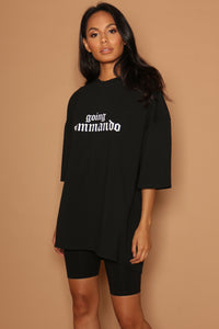 Black Going Commando Oversized Dress T-Shirt