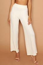 Cream Rib Knit High-Waisted Flares