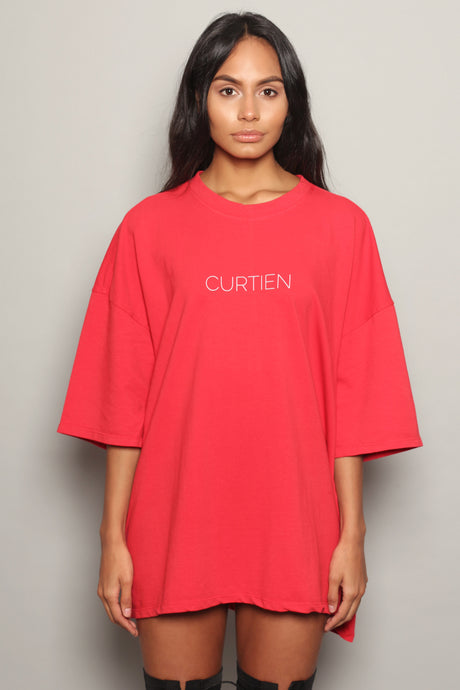 Red Logo Oversized Dress T-Shirt