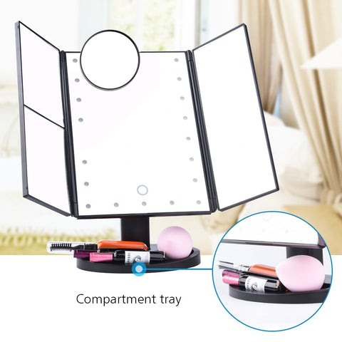 Makeup Mirror Tri-Fold Touch Screen LED Illuminated