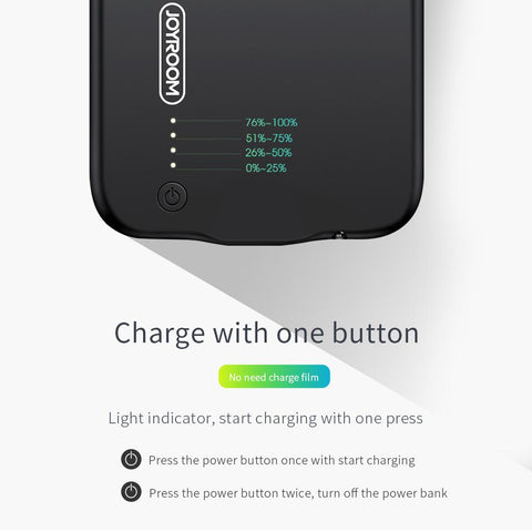 iPhone X Battery Case 3,500 mAh, charge easily by pressing one button.