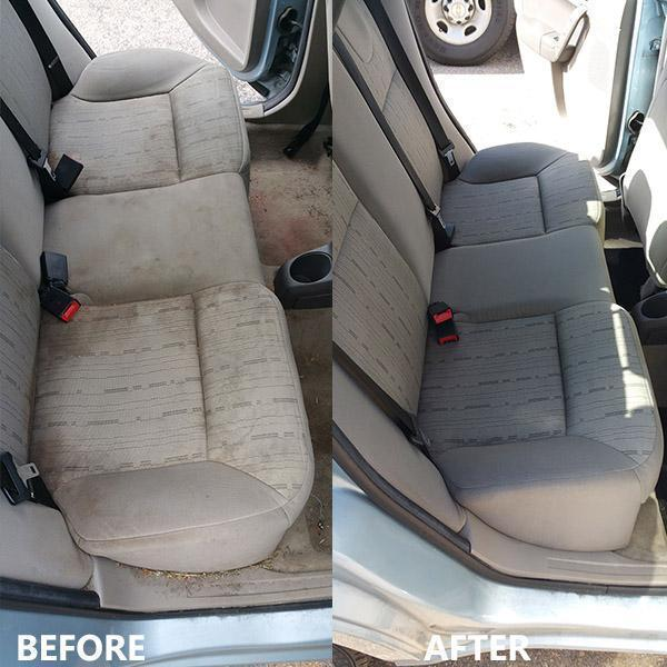 Picture of a clean car seats using high pressure car interior cleaner