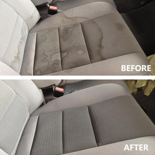 A picture of a before and after using high pressure car interior cleaner