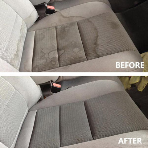 Image of A picture of a before and after using high pressure car interior cleaner