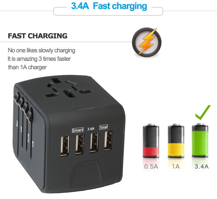 Charge 3 Devices - Power Up faster without taking multiple chargers on vacation! Compact and Powerful World Adapter Plug allows      Smart 4 USB Ports - This universal travel socket is compatible with any USB Devices like Smartphones, Bluetooth speaker, digital cameras and so on. Only at smartcooldeals.com