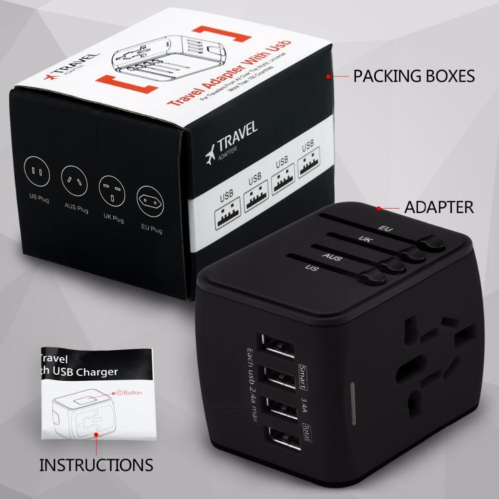 smartcooldeals |  Certified and Safety - This travel adapter has FCC, CE and RoHS approved safety system with a 6.3 Amp fuse ensure complete protection for you and your devices, Built-in safety shutters protect users from the direct touch of the live parts on the socket outlet.