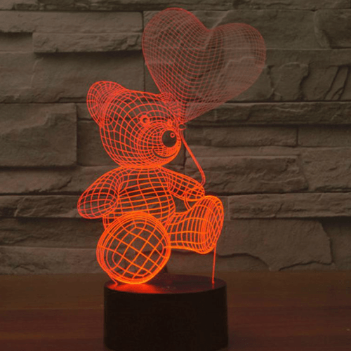 Bear with heart shape balloon, 3D optical Led lamp | smartcooldeals