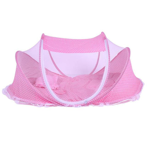 Image of Pink baby portable Foldable Crib