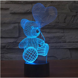 "EASY TOUCH 3D ILLUSION LAMP ""BEAR WITH BALLOON"""