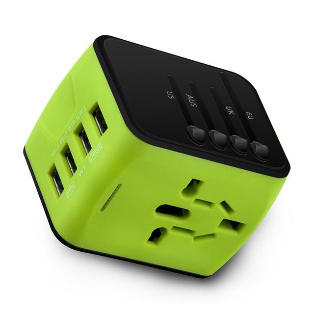 Universal Travel Socket beautiful green color, perfect for any traveler to a foreign country, best price smartcooldeals.com