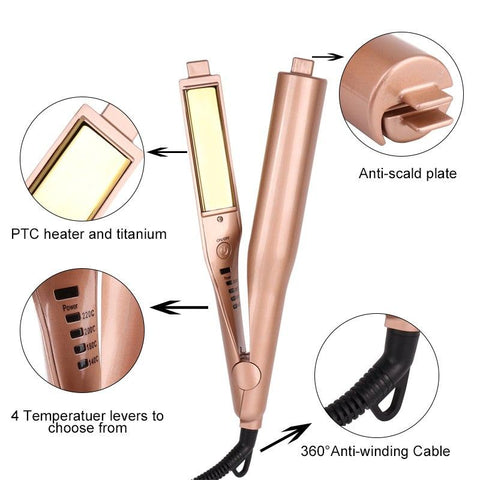 Image of Professional Gold Plated Titanium 2 in 1 Hair Straightening Curling Iron