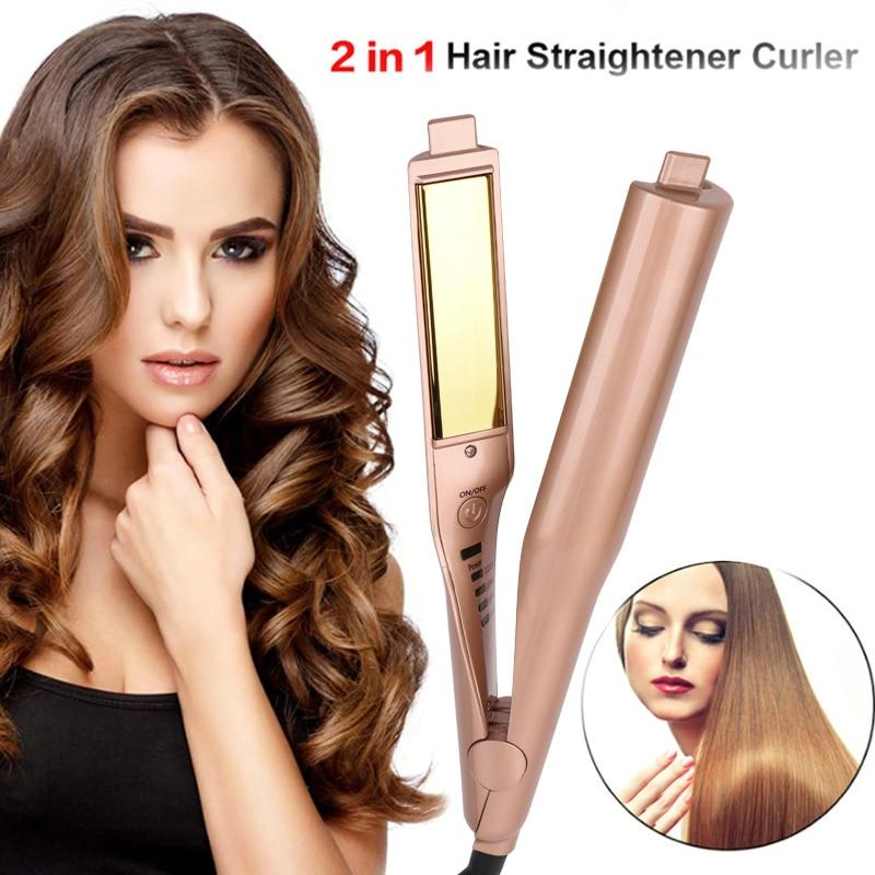 Professional Gold Plated Titanium 2 in 1 Hair Straightening Curling Iron