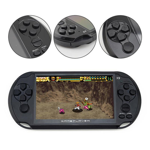 This handheld game console has easy to use buttons.