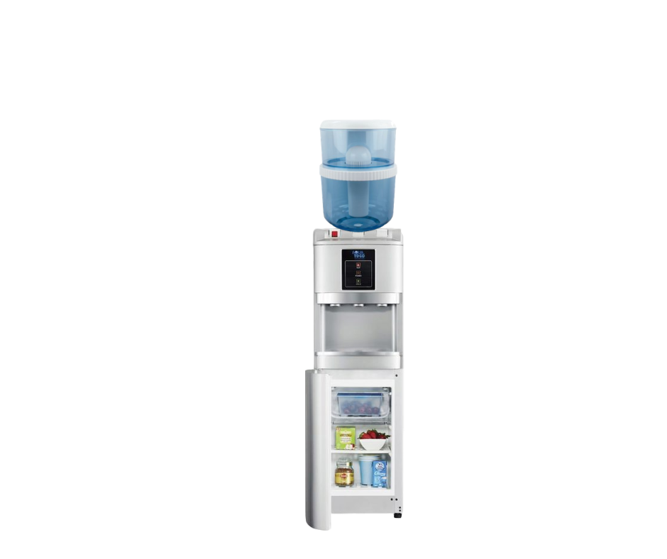 AWESOME WATER COOLER- SILVER - HOT, COLD & AMBIENT  WITH FRIDGE!- FLOOR STANDING