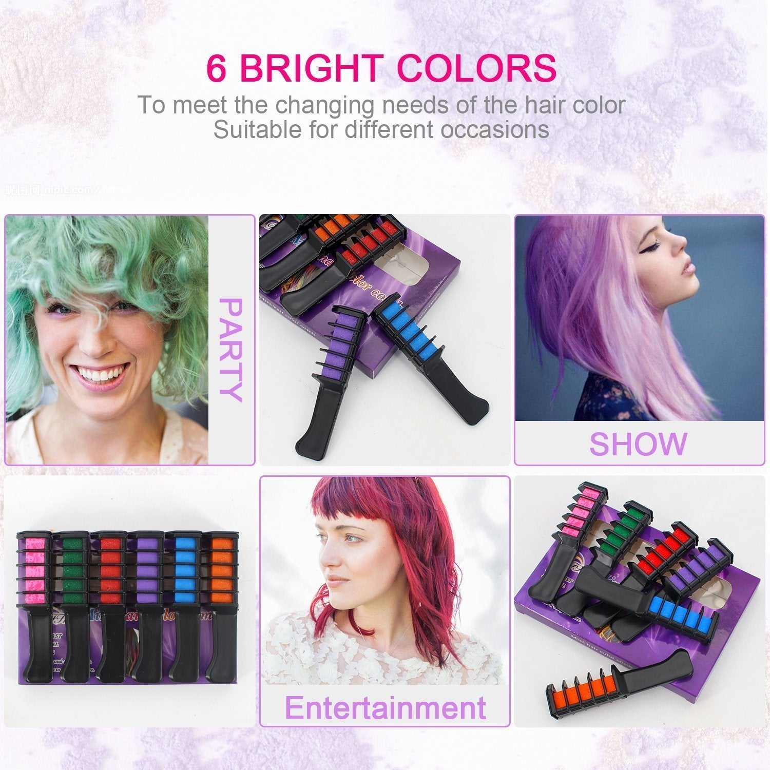Temporary Hair Chalk Comb Color - Osehoa Hair Chalk for All Hair ...