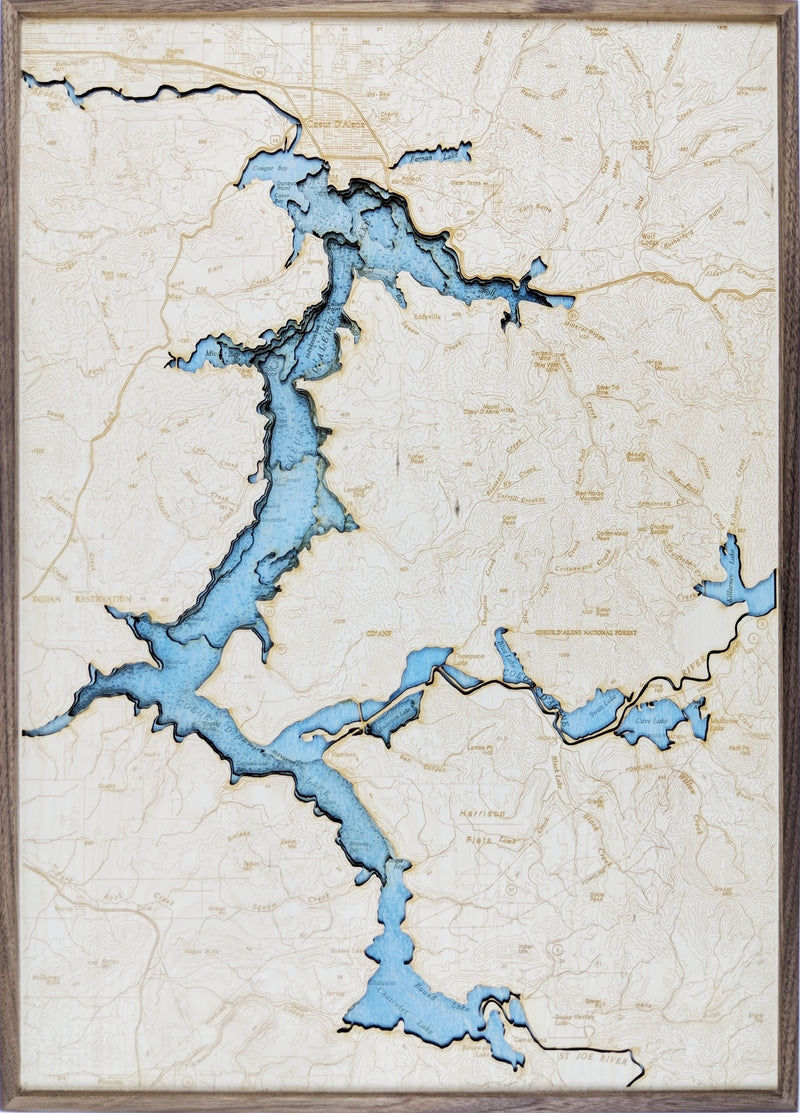 map of cda lake Lake Coeur D Alene Idaho Laser Cut 3d Topography Wall Map Lake map of cda lake