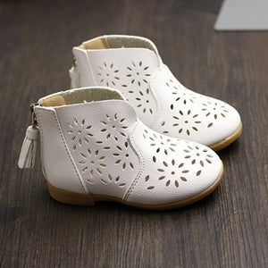 Flower Leather Boots