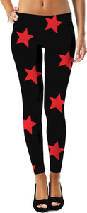 Big Red Stars Black Leggings - Sequins 'n Seashells Boutique