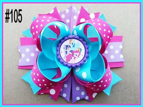 CHARACTER BOTTLE CAP HAIR BOWS - #105 - Sequins 'n Seashells Boutique