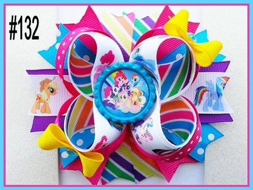 CHARACTER BOTTLE CAP HAIR BOWS - #132 - Sequins 'n Seashells Boutique