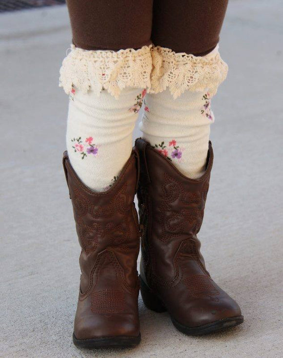 GIRLS BOOT SOCKS - SOLIDS - Sequins 'n Seashells Boutique