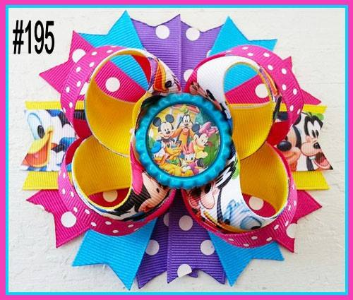 CHARACTER BOTTLE CAP HAIR BOWS - #195 - Sequins 'n Seashells Boutique