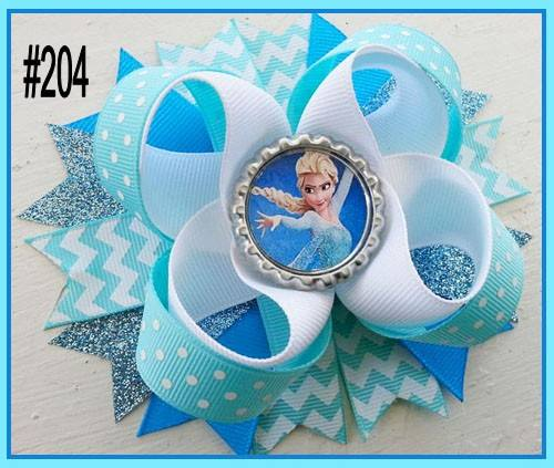 CHARACTER BOTTLE CAP HAIR BOWS - #204 - Sequins 'n Seashells Boutique
