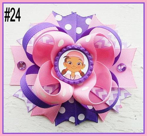 CHARACTER BOTTLE CAP HAIR BOWS - #24 - Sequins 'n Seashells Boutique