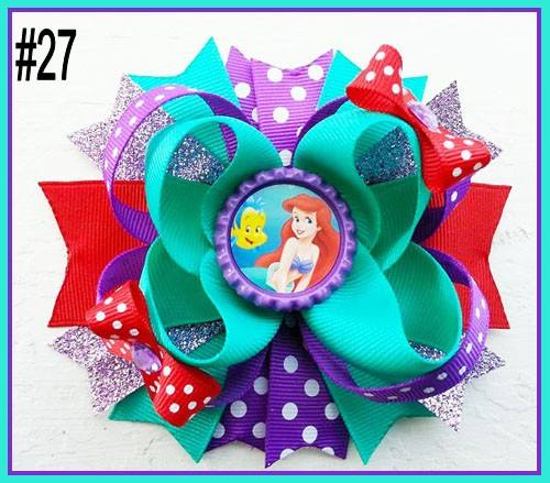 CHARACTER BOTTLE CAP HAIR BOWS - #27 - Sequins 'n Seashells Boutique